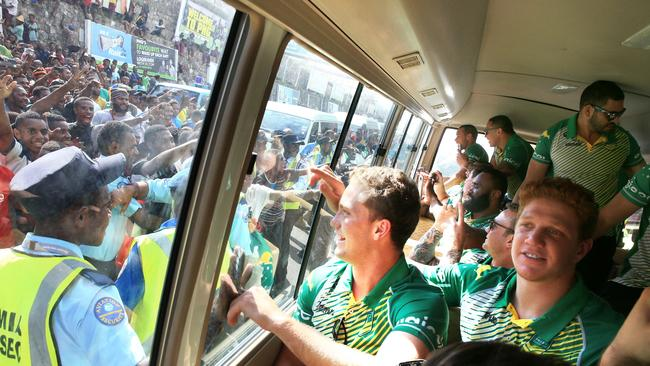 Moylan looks out at the local fans after arriving in Port Moresby. Pic: Mark Evans.