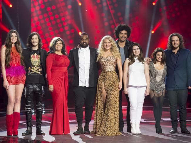 Your Voice top eight: Holly, Frank, ZK, Anja, Johnny, Kat, Sabrina and Jackson.