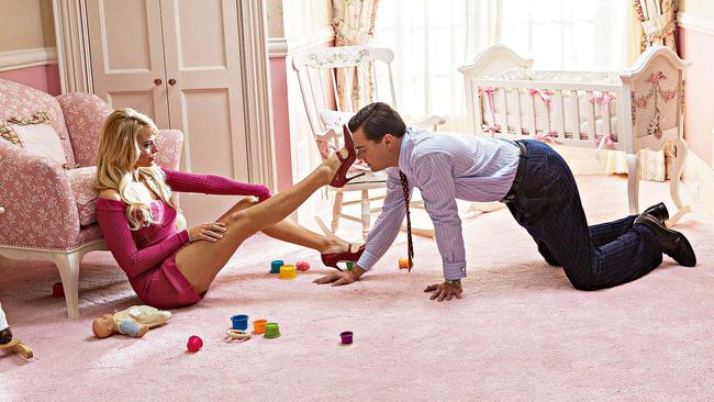Margot Robbie and Leonardo DiCaprio in that famous scene from 'The Wolf of Wall Street'