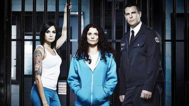 Arrested ... Danielle Cormack (centre) plays Bea Smith in Wentworth.