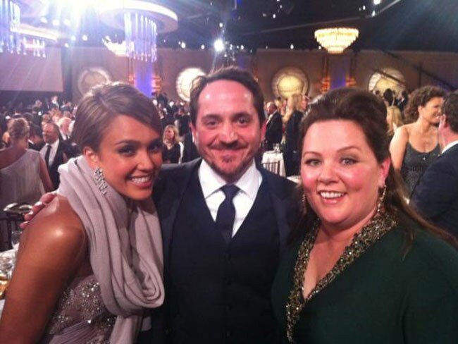Jessica Alba, Ben Falcone and Melissa McCarthy. Picture: Twitter