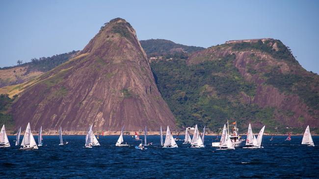 Athletes in action during a training as part of Aquece Rio International Sailing Regatta — Rio 2016 Sailing Test Event at Guanabara Bay.