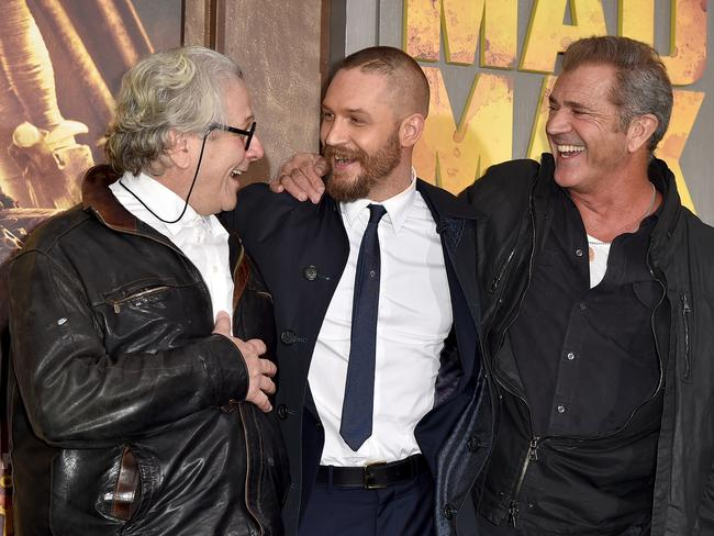 Director George Miller, actors Tom Hardy and Mel Gibson attend the premiere of Mad Max: Fury Road. Picture: Getty