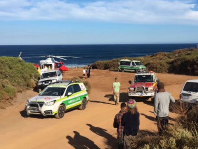 A man has been flown to Perth after being bitten by a shark at a Gracetown beach. Pic: Nine News