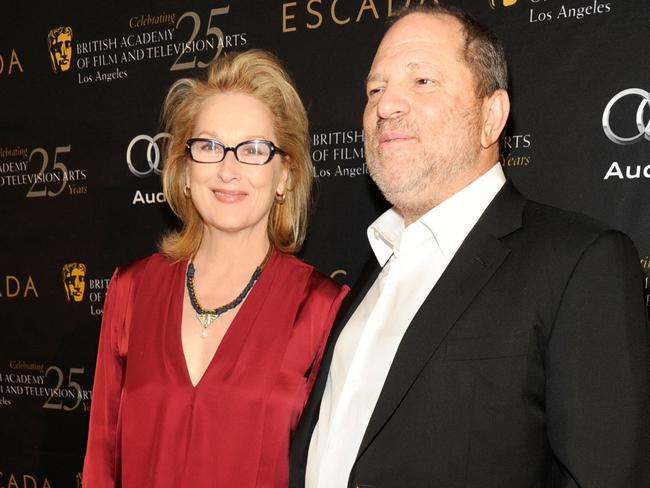 Actress Meryl streep and producer Harvey Weinstein attend BAFTA Los Angeles' 18th annual Awards Season Tea Party held at Four Seasons Hotel Los Angeles at Beverly Hills in 2012. Picture: Getty