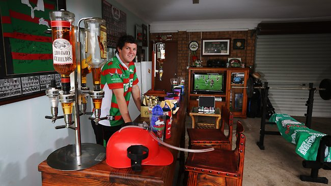 Ryan Clarke pictured in his man cave inside his garage at Cranebrook / Pic: Toby Zerna