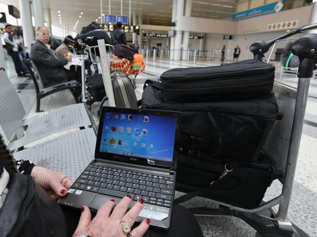 US authorities banned passengers on direct flights to the United States from 10 airports in eight countries from bringing laptops into the cabin. Picture: AFP
