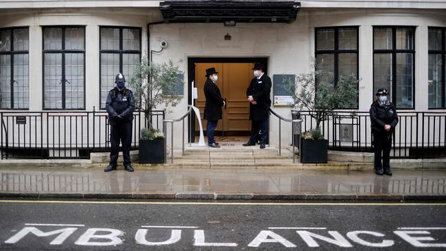 Prince Philip was taken to the King Edward VII hospital in Central London in February. Picture: Tolga Akmen/AFP