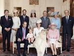 Britain's Prince William, seated left, Kate Duchess of Cambridge with their children, Prince George, and Princess Charlotte, at Sandringham House England after the christening on Sunday July 5, 2015. They are pictured in the Drawing Room of Sandringham House with Queen Elizabeth II, from left, Michael Middleton, Pippa Middleton, James Middleton, Carole Middleton, Prince Charles, Camilla, Duchess of Cornwall and Prince Philip. Picture: Mario Testino/AP