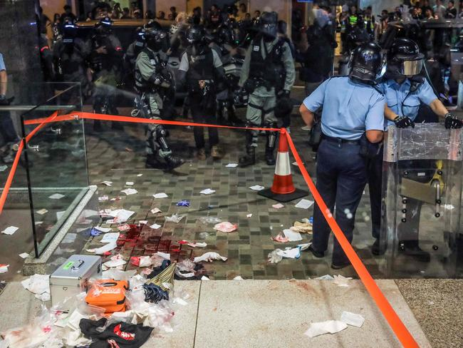 Riot police at the mall after the knife fight. Picture: Vivek Prakash/AFP
