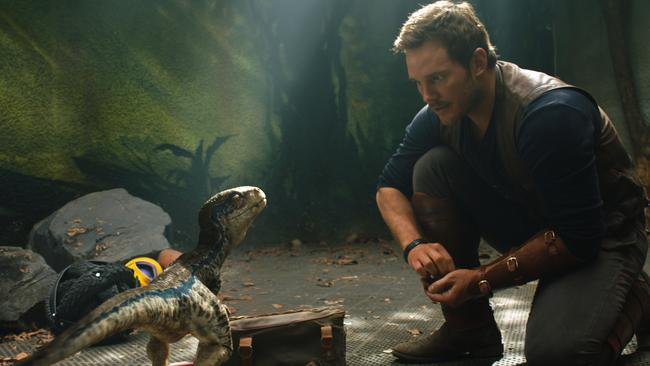 Chris Pratt meets a dinosaur in a scene from Universal Pictures film Jurassic World: Fallen Kingdom.