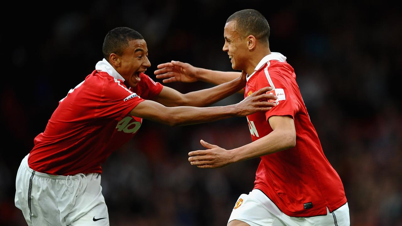 Ravel Morrison celebrates with Jesse Lingard after scoring in the FA Youth Cup Final in 2011.