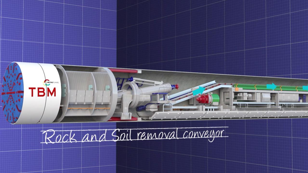A drawing of one of the two tunnel boring machines used to dig out the Melbourne Metro Rail Tunnel.