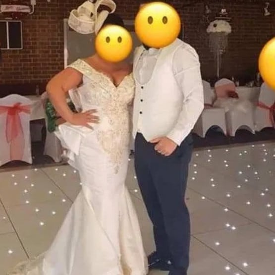 The mother wears what looks to be like a wedding dress to her son's wedding. Picture: Facebook. Picture: Supplied