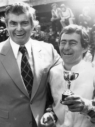 Trainer Bart Cummings and White with Melbourne Cup trophies after Hyperno won the 1979 Melbourne Cup. Trophy. Picture: Clive Mackinnon.