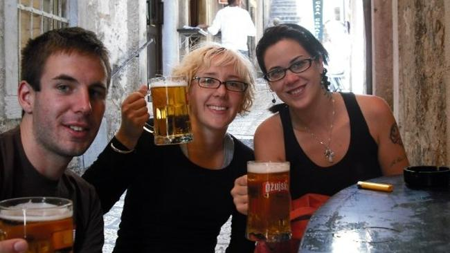 Britt Lapthorne (centre), with backpacker friends Gareth Hopkins (left) and Krys Noseworthy in Dubrovnik on September 17, 2008.