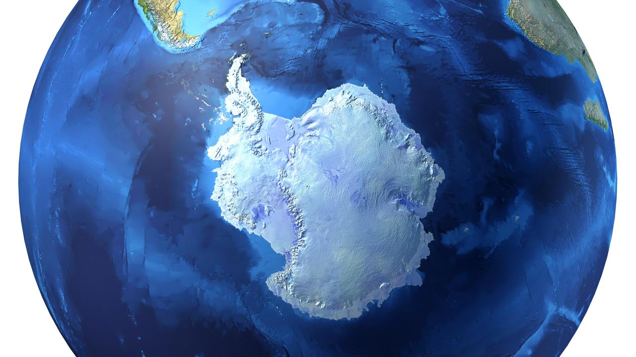 The Earth, looking straight at Antarctica. The geographic South Pole is on Antarctica. At the moment, the magnetic South Pole is off the coast off Antarctica.