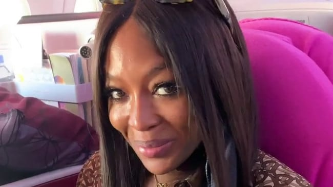 Naomi Campbell has revealed her in-flight cleaning routine, including various seat covers which she hand washes at her hotel.