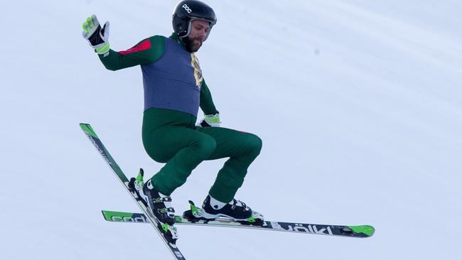 Delta Goodrem's ex, Brian McFadden, attempts a jump.
