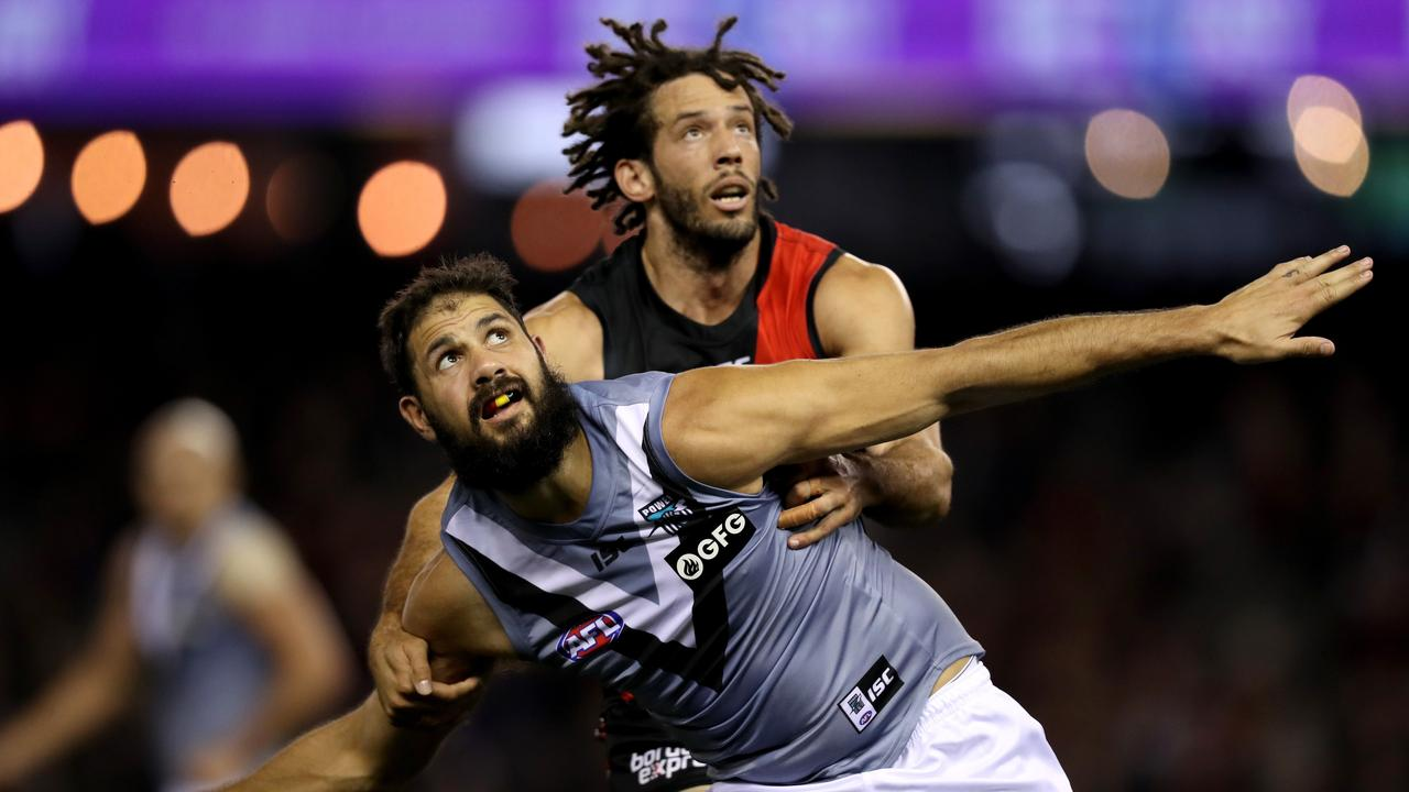 Zac Clarke went up against Paddy Ruder and Port teammate Peter Ladhams on the weekend.