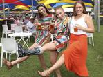 Sophie Radley, Ellie Bruce and Esther Bidstrup on the Village Green at the Adelaide Oval on Friday. Picture: SARAH REED
