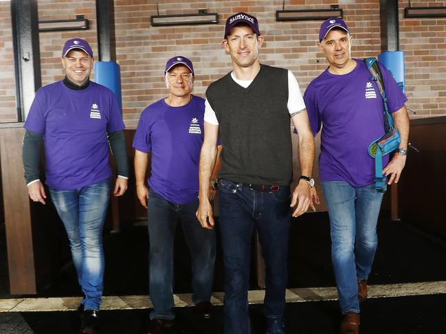 Hugh Bowman (second from right) is supporting the trek to Mount Everest to raise funds for pancreatic cancer along with (from left) Stephen Grosser, Con Kanellis and Scott Hunt. Picture: Sam Ruttyn