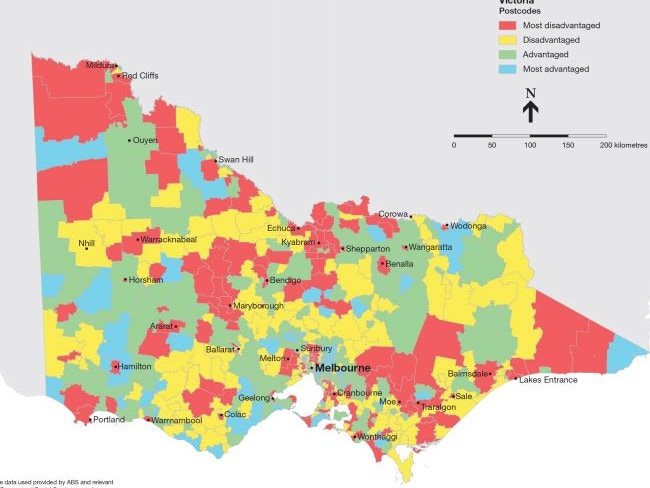 In regional Victoria, the disadvantaged areas are spread out, from Red Cliffs in the northwest down to Bainsdale in the southeast.