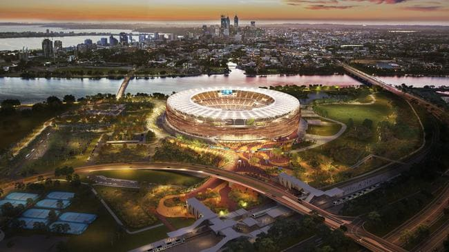 Artists impression of the new 60,000 seater Perth Stadium which is due to be ready for the 2018 AFL season.