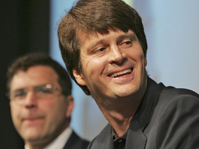 Former Google Earth & Maps Director John Hanke (right) in 2007. Picture: AP Photo/Kathy Willens