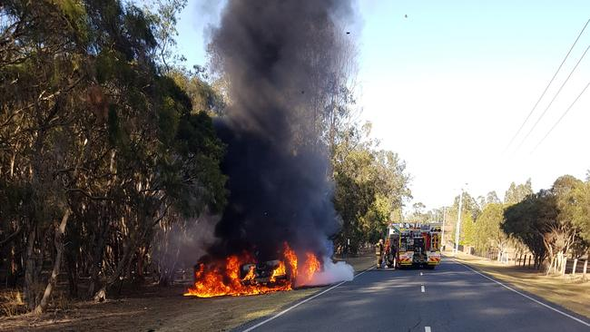 The vehicle that was found on fire. Picture: SEQ News