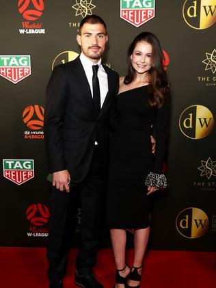 James Troisi and Bronte Troisi arrive ahead of the FFA Dolan Warren Awards