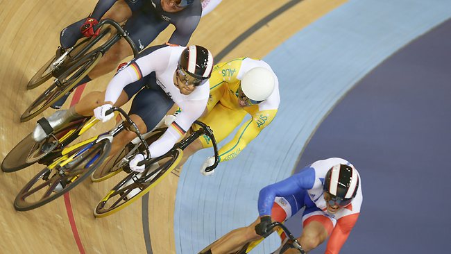 Shane Perkins was trapped on the inside and swamped in the keirin final, eventually finishing fifth. Picture: Adam Head