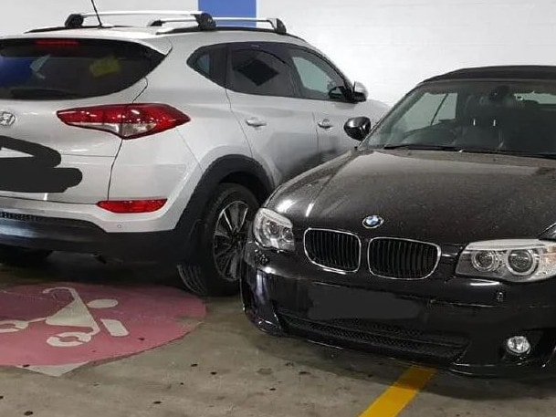 Last month, a mum shamed a 'selfish' driver who parked between two family cars in the 'parents with pram' spots at Birkenhead Point. Picture: Facebook/Inner West Mums