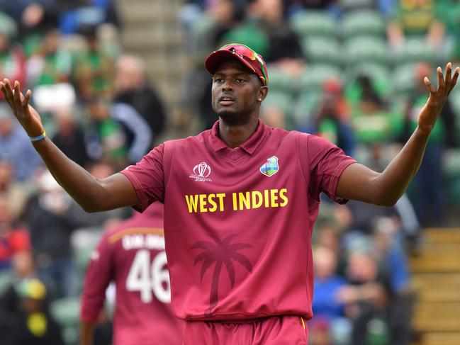 West Indies' captain Jason Holder reacts during the 2019 Cricket World Cup group stage match between West Indies and Bangladesh. Picture: Saeed Khan/AFP