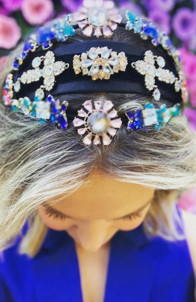 Edwina Bartholomew from Channel 7's Sunrise gives a sneak peak of her crown for Melbourne Cup day.