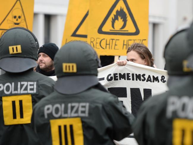 Riot police block a protest march against the right-wing populist party Alternative for Germany in Stuttgart. Picture: AFP/Felix Kästle.