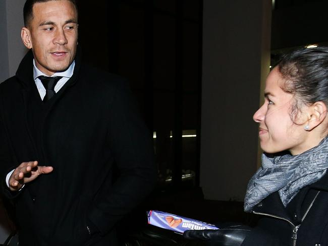 Sonny Bill Williams leaves the judiciary hearing on Sunday.