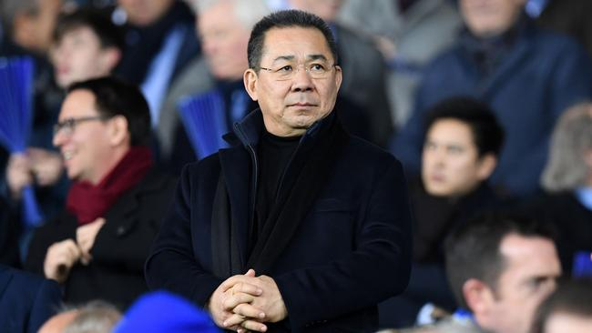 A helicopter belonging to Thai tycoon Vichai Srivaddhanaprabha crashed on Saturday at the stadium of his UK football club Leicester City. Picture: AFP