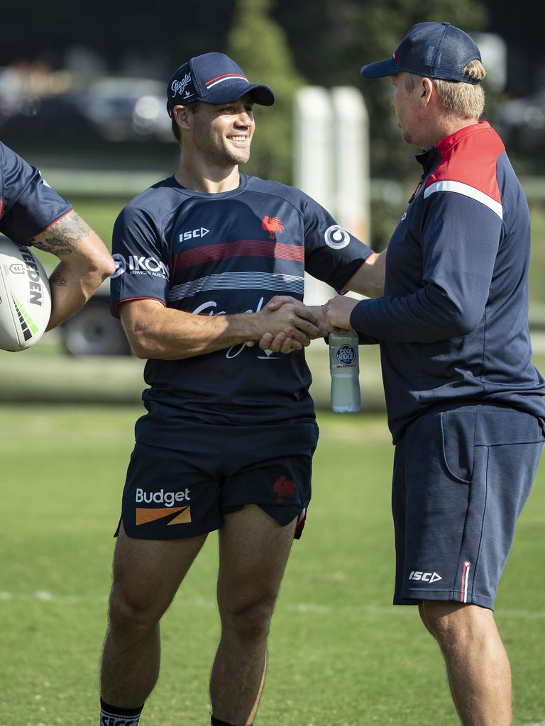 Cronk with Roosters coach Trent Robinson at training at Moore Park. Picture: John Feder/The Australian.