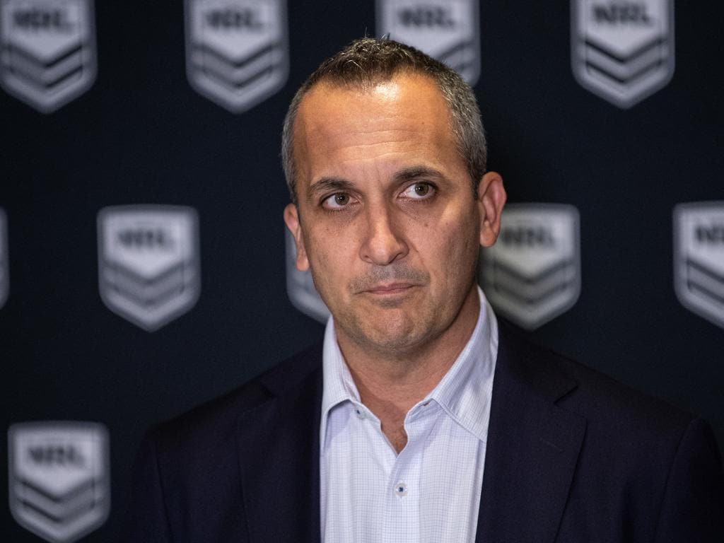 Acting NRL CEO Andrew Abdo speaking to media during a press conference at Rugby League Central in Sydney, Friday, May 15, 2020. (AAP Image/James Gourley) NO ARCHIVING