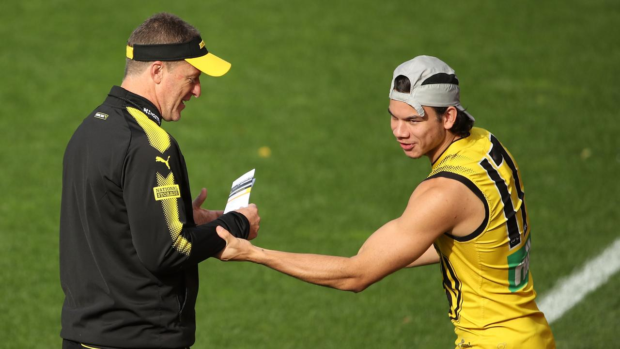 Damien Hardwick and Daniel Rioli at a training session this week.