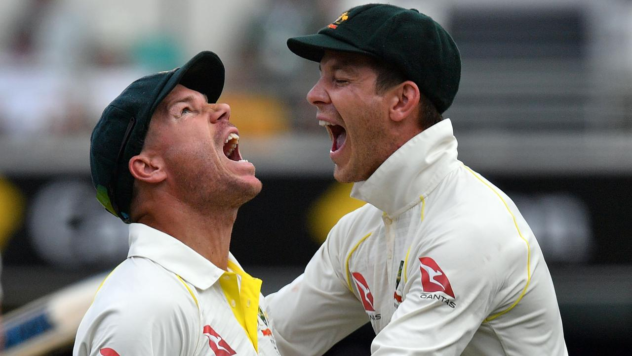 David Warner (L) celebrates with Tim Paine after taking a catch.