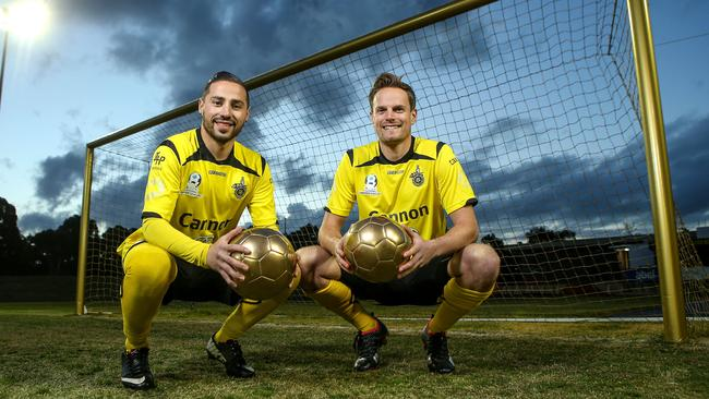 Heidelberg stars Adrian Zahra (left) and captain Luke Byles (right) ahead of their FFA Cup clash against Perth Glory. Picture: Getty