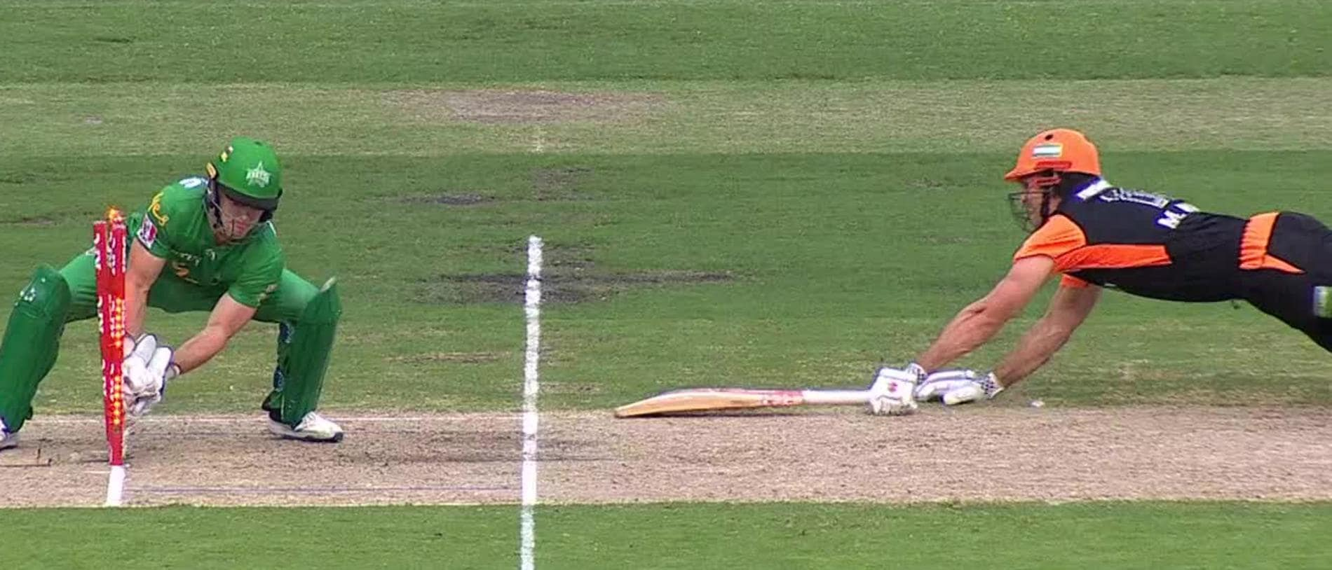 Mitchell Marsh paid the price for ball watching after being called through for a tight single.