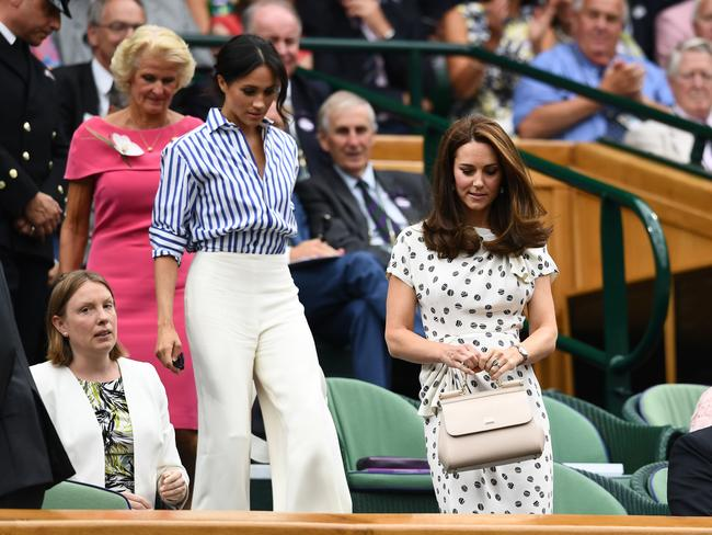 Meghan and Kate have arrived at Wimbledon in their first joint public outing without their husbands. Picture: Clive Mason/Getty Images.