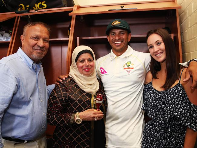 Australia's Usman Khawaja and his family father Tariq, mother Fozia and girlfriend Rachel.