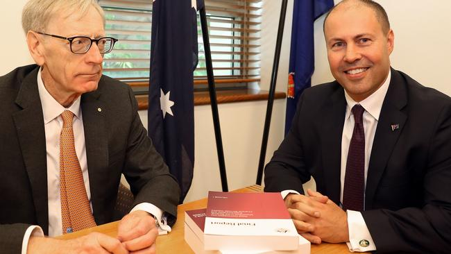 Commissioner Kenneth Hayne and Treasurer Josh Frydenberg. Picture: Kym Smith