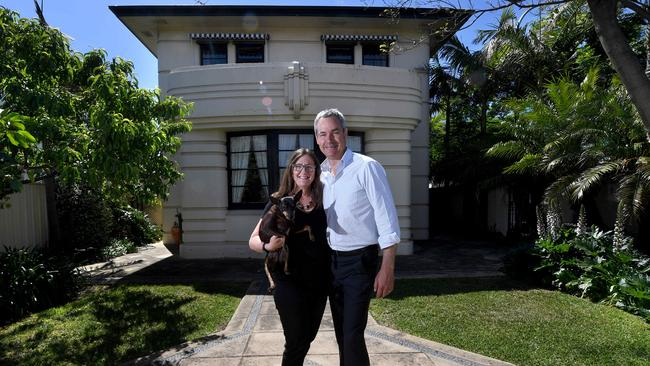 Alison and David O'Loughlin outside their Prospect house, on Prospect Rd, which was designed by architect Chris Smith as his home and office. Smith designed dozens of theatres and civil buildings including the Capri Theatre. Picture: Tricia Watkinson