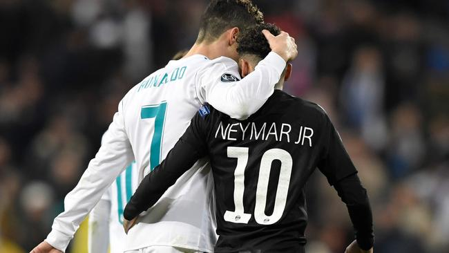 Real Madrid's Portuguese forward Cristiano Ronaldo (L) and Paris Saint-Germain's Brazilian forward Neymar - could they be teammates?