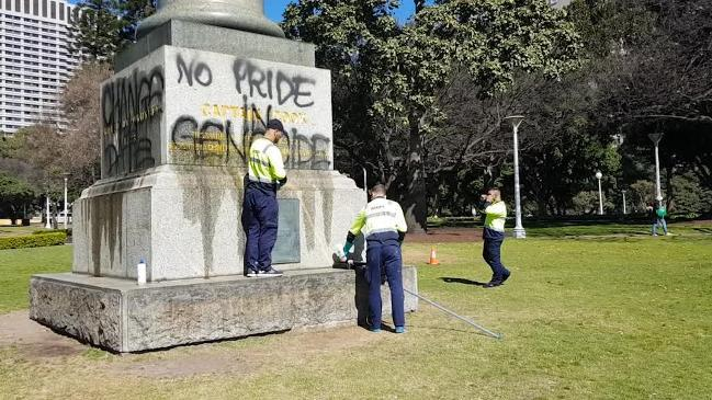 The statue of Captain Cook in Hyde Park vandalised overnight
